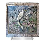 Silver Lake Snowy Egret Shower Curtain