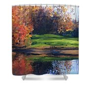 Autumn By Water Shower Curtain by Ivana Westin