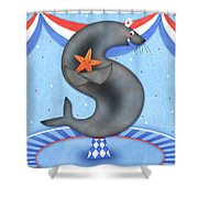S Is For Seal And Starfish Shower Curtain