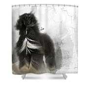 Black And Tan Afghan Hound In The Wind Shower Curtain