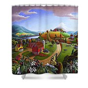 Folk Art Blackberry Patch Rural Country Farm Landscape Painting - Blackberries Rustic Americana Shower Curtain