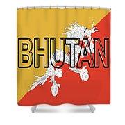 Flag Of Bhutan Word Shower Curtain