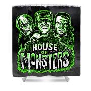 House Of Monsters Frankenstein Dracula Phantom Horror Movie Art Shower Curtain