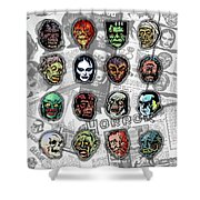 16 Horror Movie Monsters Vintage Style Classic Horror Movies  Shower Curtain