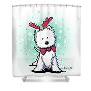 Kiniart Westie Reindeer Shower Curtain