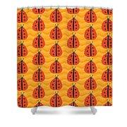 Orange Ladybug Masked As Autumn Leaf Shower Curtain