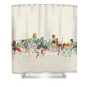 Miami Florida City Skyline Shower Curtain