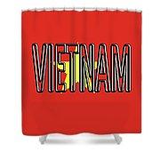 Flag Of Vietnam Word Shower Curtain