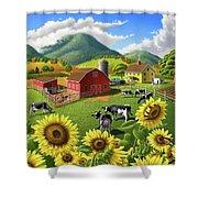 Sunflowers Cows Appalachian Farm Landscape - Rural Americana - Farm Animals - 1950 Farm Life - Barn Shower Curtain
