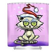 Kitten In Christmas Hat Shower Curtain