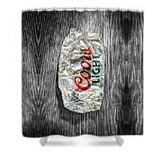 Crushed Light Silver Beer Can On Bw Plywood 79 Shower Curtain