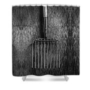 Ensilage Fork Up On Plywood In Bw 66 Shower Curtain