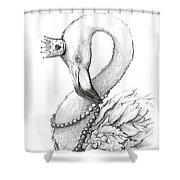 Flamingo In Pearl Necklace Shower Curtain