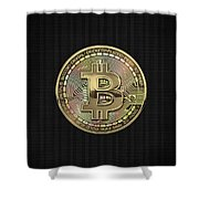 Gold Bitcoin Effigy Over Black Canvas Shower Curtain