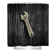 Adjustable Wrench Over Black And White Wood 72 Shower Curtain