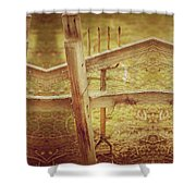 Spading Fork On Chicken Wire Fence Morning Sunlight Shower Curtain