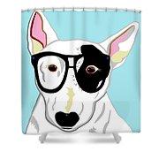 Hipster Bull Terrier Shower Curtain