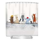 Little Big Surfboard Shower Curtain