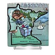 Minnesota Cartoon Map Shower Curtain