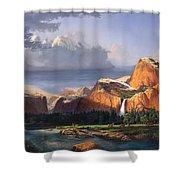 Deer Meadow Mountains Western Stream Deer Waterfall Landscape Oil Painting Stormy Sky Snow Scene Shower Curtain by Walt Curlee