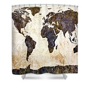 World Map Abstract Shower Curtain by Bob Orsillo