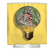 Butterfly In Lightbulb Shower Curtain