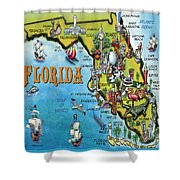 Florida Cartoon Map Shower Curtain