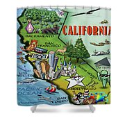 California Cartoon Map Shower Curtain