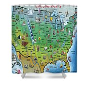 Usa Cartoon Map Shower Curtain
