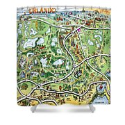 Orlando Florida Cartoon Map Shower Curtain