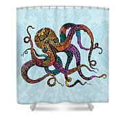 Electric Octopus Shower Curtain by Tammy Wetzel