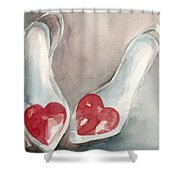 Red Heart Paintings Of Shoes Print Shower Curtain by Beverly Brown