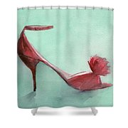 High Heel Red Shoes Painting Shower Curtain by Beverly Brown