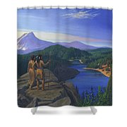 Native American Indian Maiden And Warrior Watching Bear Western Mountain Landscape Shower Curtain