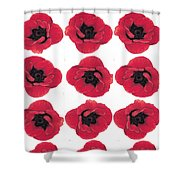Three Red Poppies Shower Curtain