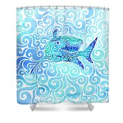 Swirly Shark Shower Curtain