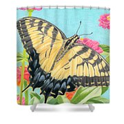Swallowtail Butterfly And Zinnias Shower Curtain