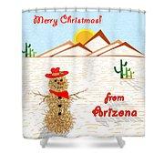Arizona Tumbleweed Snowman Shower Curtain