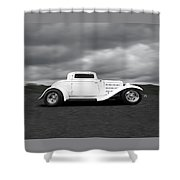32 Ford Deuce Coupe In Black And White Shower Curtain