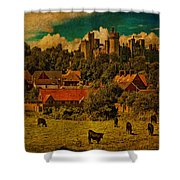 Arundel Castle With Cows Shower Curtain
