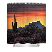 As The Sun Sets On Red Mountain  Shower Curtain