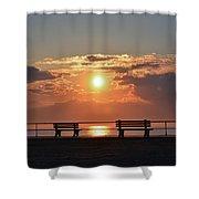 Asbury Park Boardwalk Sunrise Shower Curtain
