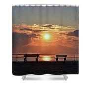 Asbury Park On The Boardwalk At Sunrise Shower Curtain
