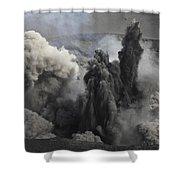 Ash Cloud Eruption On Yasur Volcano Shower Curtain
