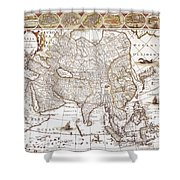 Asia: Map, C1618 Shower Curtain