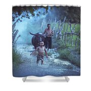 Asian Boy Playing Water With Dad And Buffalo Shower Curtain