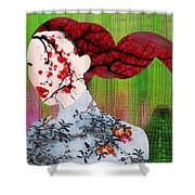 Asian Flower Woman Red Shower Curtain
