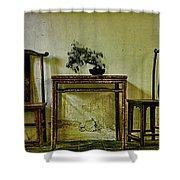 Asian Furniture And Bonsai Shower Curtain