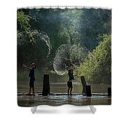 Asian Girl Playing Water In River Shower Curtain