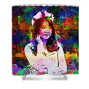 Asian Girl With Crown  Shower Curtain